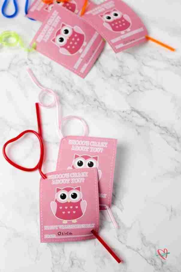 Kids' Valentine's Day cards with crazy straws