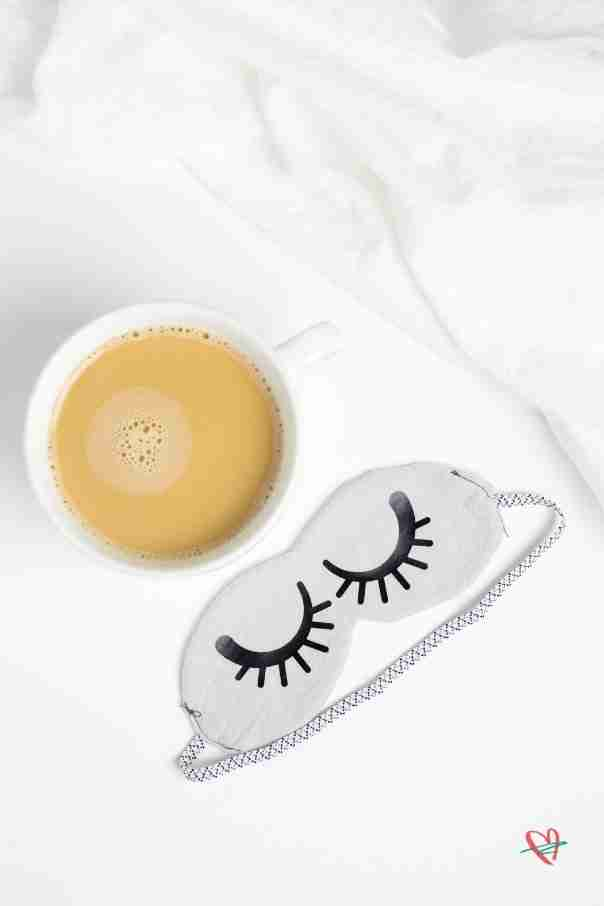 Finished sleep mask next to a cup of coffee
